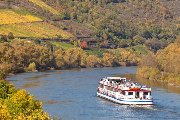 Cruise ship on river moselle