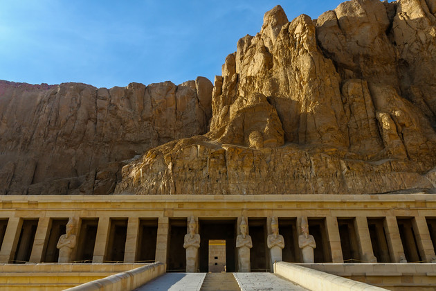 Hatshepsut temple under the mountains in the Valley of the Kings