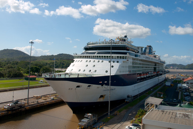 A cruise ship traversing the Panama Canal