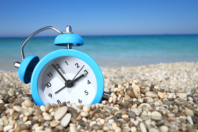Clock on the beach