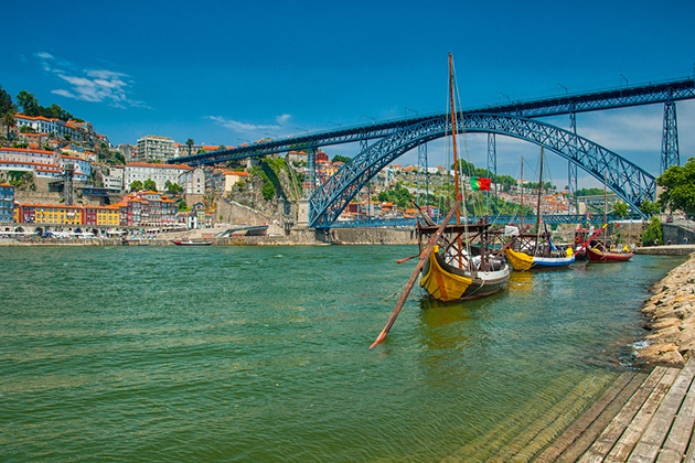 Douro River with traditional Rabelo boats in Porto, Portugal