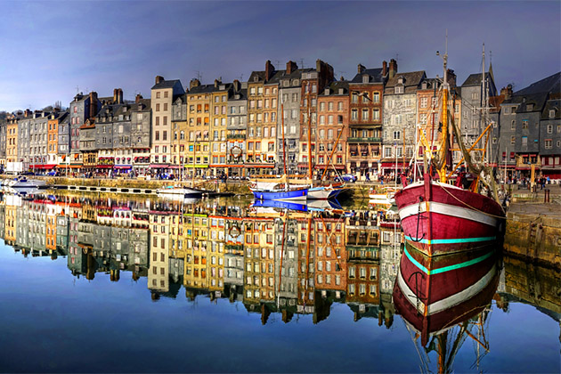 Colorful townhouses of Honfleur, normandy city in France