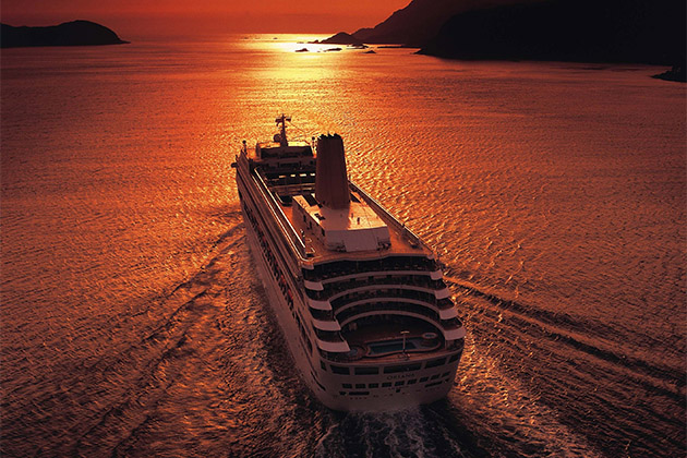 Oriana at sea during sunset