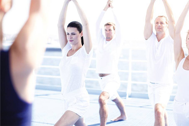 Yoga class on a cruise deck