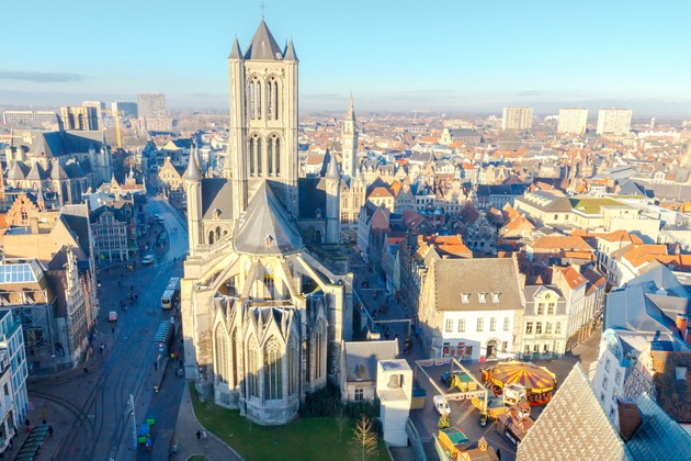 View of Ghent, Belgium and the St. Bavo Cathedral with Belfry