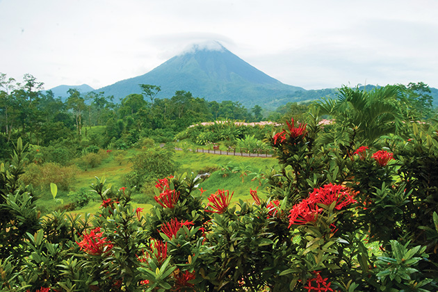 Landscape of Costa Rica with Arenal Volcano in the background