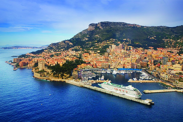 Crystal Symphony aerial in Monte Carlo
