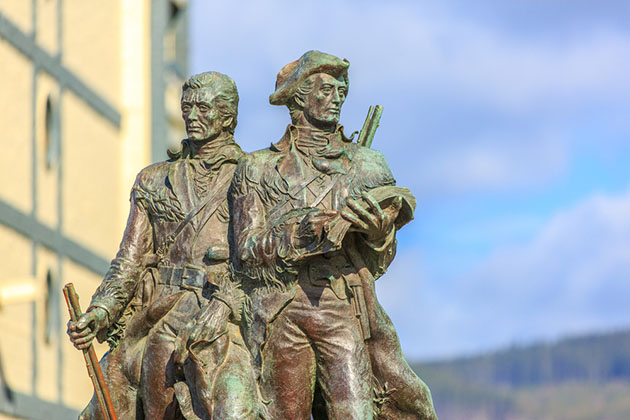 Bronze statue of Meriwether Lewis and William Clark was installed at the official end of the Lewis and Clark Trail, Sesside, Oregon.