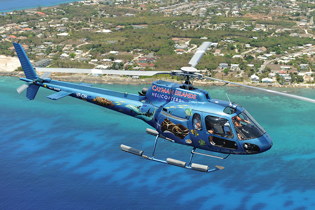 Helicopter over the Cayman Islands