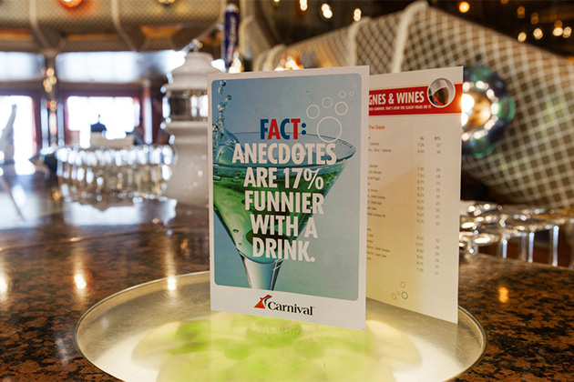Drink menu on Carnival Conquest