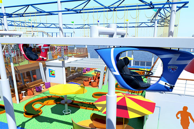 Rendering of the SkyRide and ropes courses on Carnival Vista