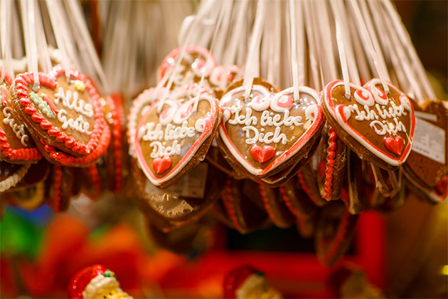 Gingerbread Hearts at German Christmas Market. Nuremberg