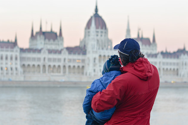 Father and son in Budapest