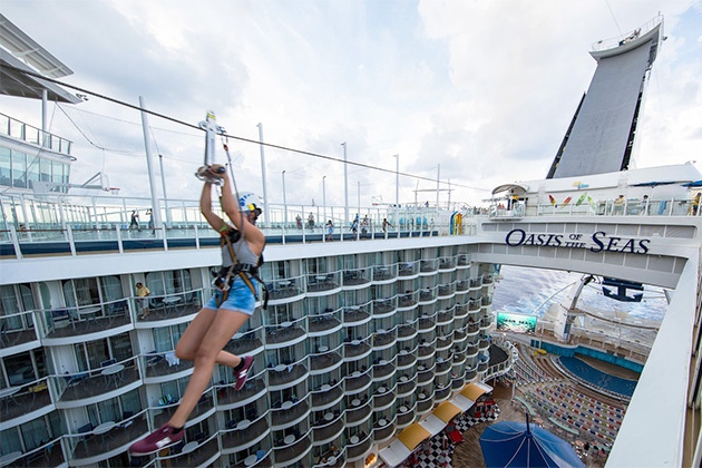 Ziplining on Oasis of the Seas