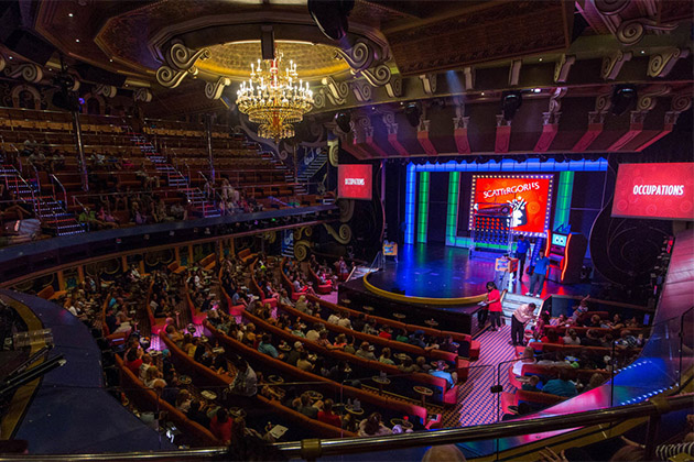 Hasbro the Game Show panoramic shot in Carnival Freedom's Victoriana Lounge