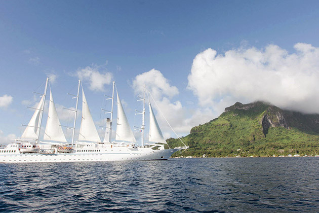 Exterior of Wind Spirit as it sails to Bora Bora