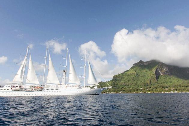 Exterior of Wind Spirit as it sails to Bora Bora