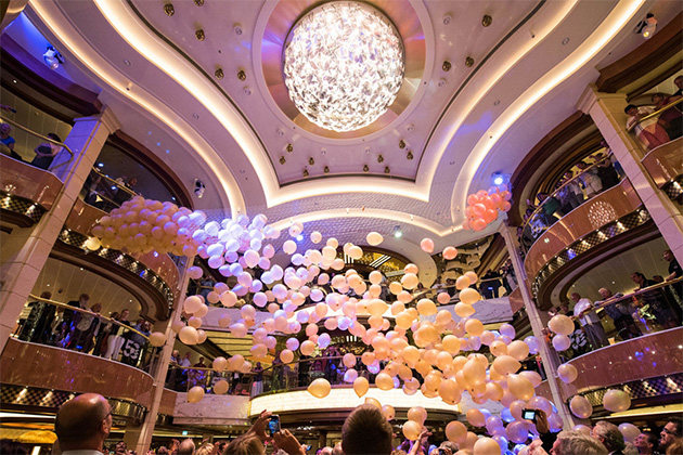 End of the Cruise Balloon Drop in the Atrium on Regal Princess