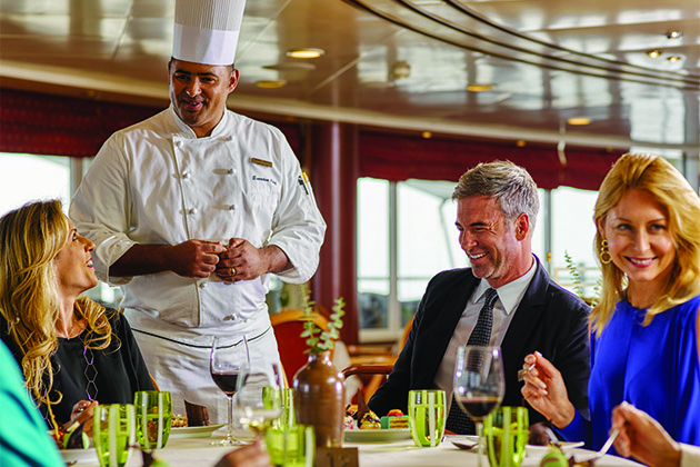 Chef chatting with passengers on Silversea cruise