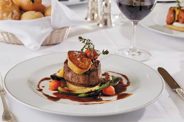 Steak entree on Regent cruise