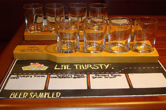 Beer sampler in Carnival Vista's RedFrog Pub