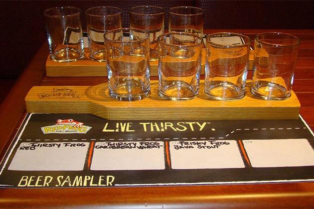 Beer sampler in Carnival Vista's RedFrog Pub