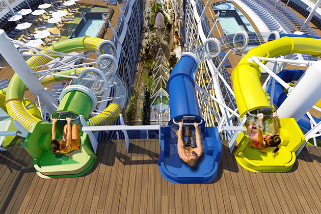 Three cruisers at slide entrances for the Perfect Storm