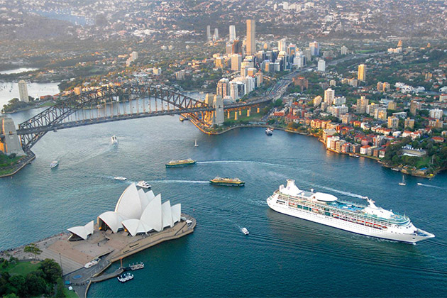 Royal Caribbean International ship sailing out of Sydney Harbour