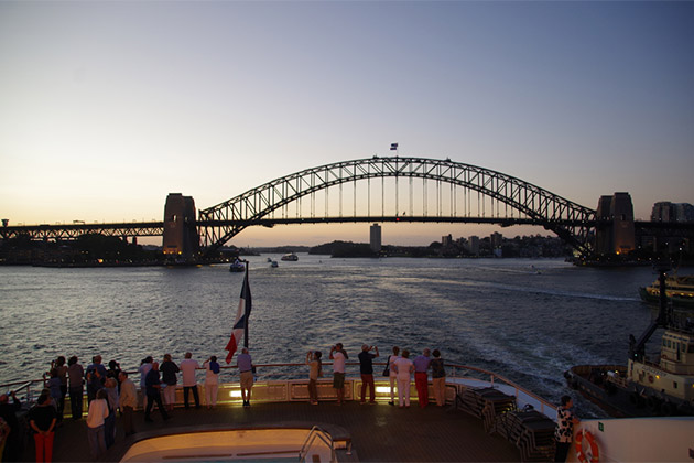View of Sydney Harbour Bridge from a Ponant ship