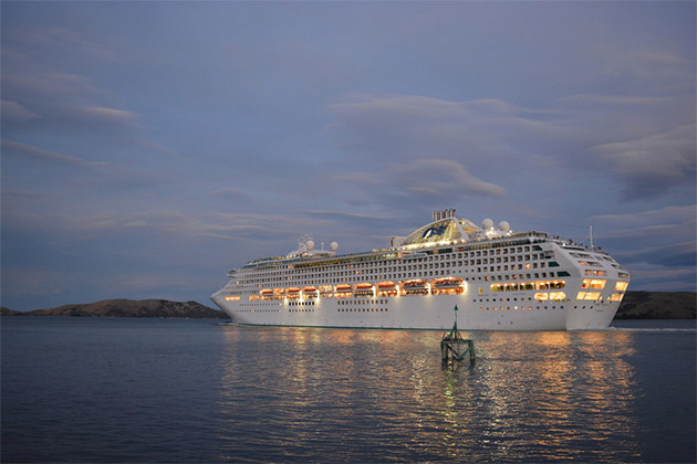 Dawn Princess in port at night