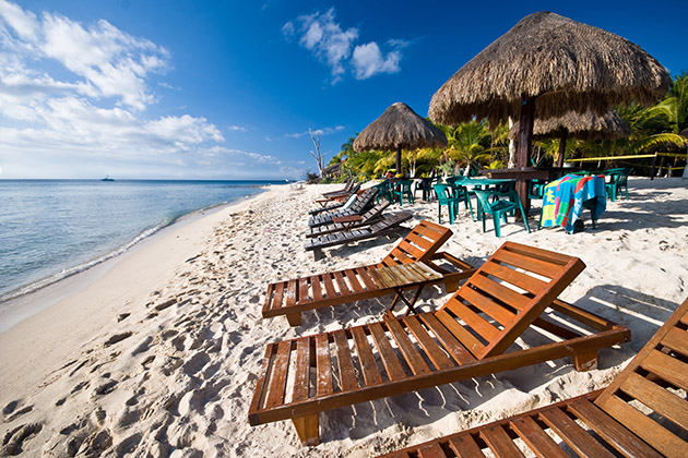 Beach in the Mexican Caribbean in the island of Cozumel
