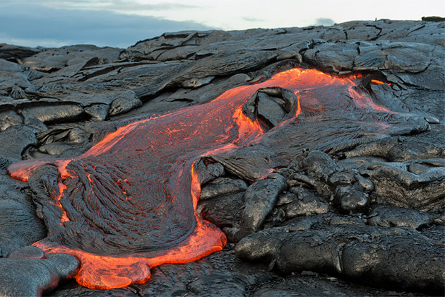 Close up of molten lava at Hawaii Volcanoes National Park