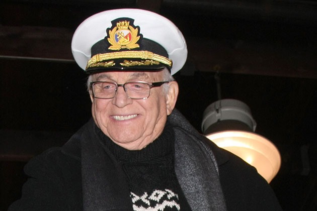 Gavin MacLeod at the Original 'Love Boat' Cast decorates Princess Cruises' Rose Parade Float at a Rosemont Pavilion on December 30, 2014 in Pasadena, CA