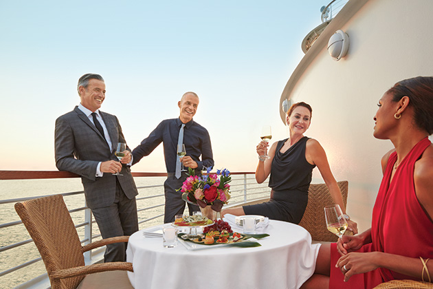 Well-dressed passengers in Seabourn's Veranda restaurant