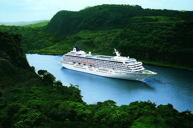 Aerial shot of Crystal Symphony sailing the Panama Canal