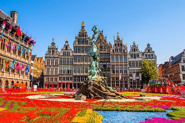 ANTEWERP, BELGIUM - JUN 5, 2015: City Hall on the main square in Antwerp, Belgium. Antwerp is the capital of Antwerp province and the most populous city in Belgium