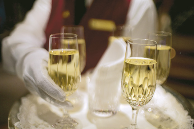 Butler served champagne