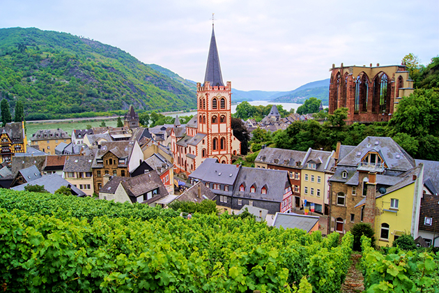 View over Bacharach along the famous Rhine River, Germany