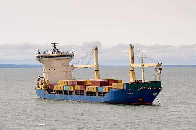 Cargo ship near the port of Libreville