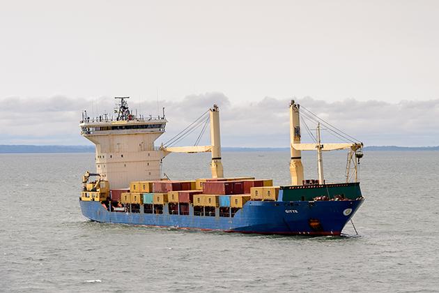 Cargo ship near the port of Libreville