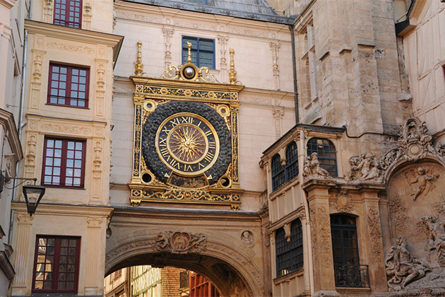 France, the picturesque Gros Horloge of Rouen