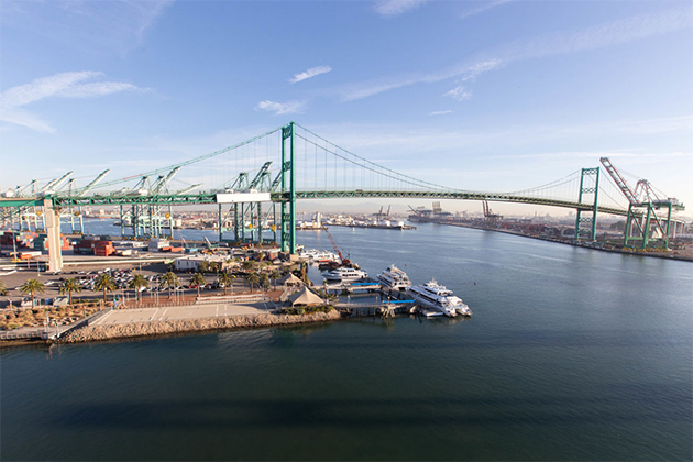 Vincent Thomas Bridge Port Of Los Angeles San Pedro California Usa