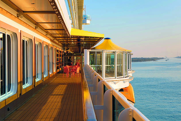 Open deck at sunset on Costa Diadema