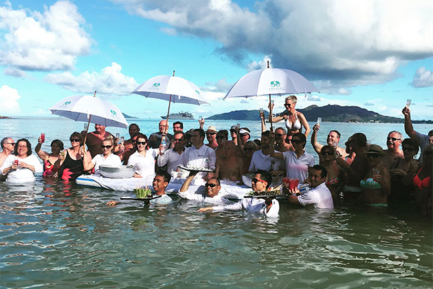 Crystal Cruises passengers in the water