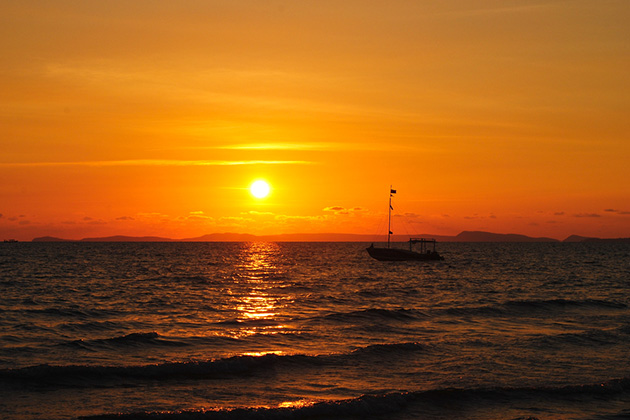Tropical sunset in Otres beach, Cambodia