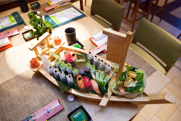 Sushi boat on Carnival Breeze