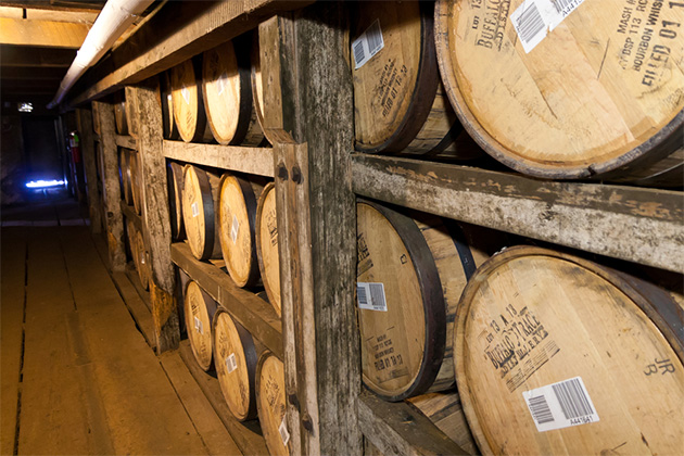 Bourbon barrels aging in Buffalo Trace Distillery in Frankfort, KY