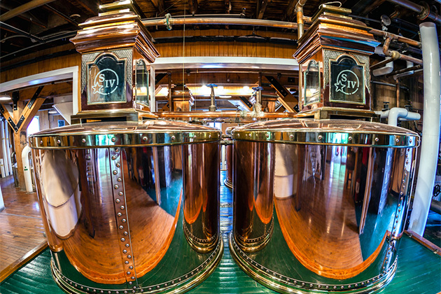 Image of original copper stills at Makers Mark bourbon distillery