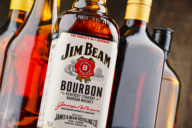 Jim Beam bourbon bottles
