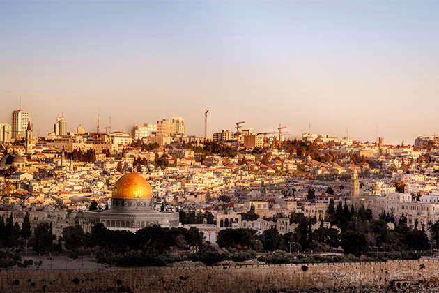 Aerial shot of Jerusalem at sunset